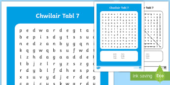 Taflen Chwilair Lluosi Tabl 7 - Lluosi, lluosi, dablau lluosi, tabl lluosi,  gof dablau lluosi, rhifedd, Rhifedd.,Welsh