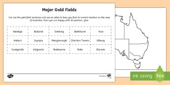 Major Goldfields Activity Sheet - Worksheet, Australian colony, ACHASSK108, gold, gold rush, Australian Gold Rush,  ACHASSK109,Austral