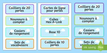 Fournitures pour la classe Étiquettes à casiers - Organisation de la classe, casiers, étiquettes, rangement,French