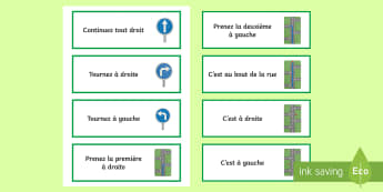 Directions Word Cards - KS3, French, Home, Town,directions, ville, rue, road,French, a droite, a gauche, tout droit