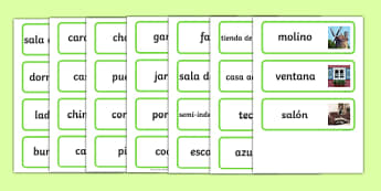 Houses and Homes Topic Word Cards Spanish - spanish, house, home, building, Word Card, flashcard, flashcards, brick, stone, detached, terraced, bathroom, kitchen, door, caravan, where we live, ourselves