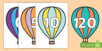 Counting in 5s on Hot Air Balloons (Stripes) - Counting, Hot Air Balloon, Numberline, Number line, Counting on, Counting back, even numbers, foundation stage numeracy, counting in 2s