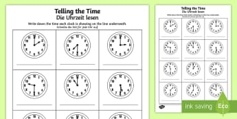 O'clock and Half Past Times Activity Sheet English/German - O'clock and Half Past Times Activity Sheet - o'clock, half past, times, activity, EAL, German, lea