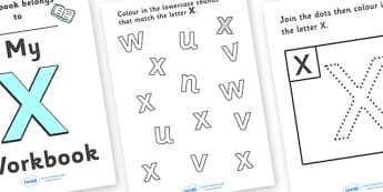 My Workbook X uppercase - workbook, X sound, uppercase, letters, alphabet, activity, handwriting, writing