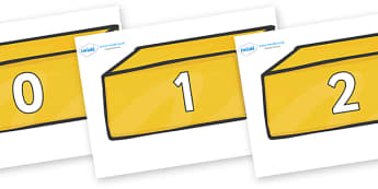 Numbers 0-31 on Gold Bars - 0-31, foundation stage numeracy, Number recognition, Number flashcards, counting, number frieze, Display numbers, number posters