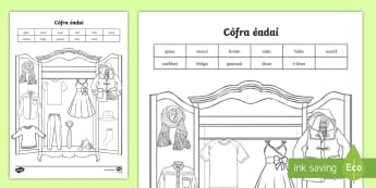 Label the Clothes Activity Sheet Gaeilge - ROI, Clothes, Gaeilge, colour, vocabulary, question, response, answer, worksheet, vocab, words, phra