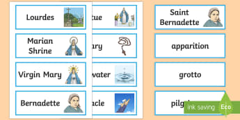 Our Lady of Lourdes Vocabulary Cards - Our Lady of Lourdes, Virgin Mary, words, vocabulary, Lourdes, Marian shrine, grotto, writing, spelli