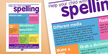 Help Your Child With Spelling Poster For Parents - visual aid