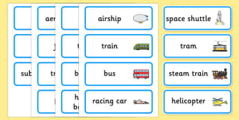 Transport Topic Word Cards - transport, word cards, keywords