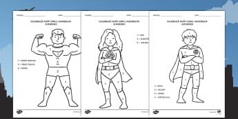 Supereroi Colorează după codul numerelor - recunoașterea cifrelor, numerație, motricitate fină, arte, matematică,