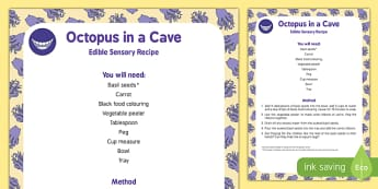 Octopus in a Cave Edible Sensory Recipe