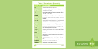 Year 2 Grammar Glossary - year 2, glossary, grammar, english