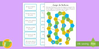 Juego de mesa: Comprensión lectora - juego de mesa, leer, lectura, comprensión, lector, lectora, juego, dados, preguntas, tarjetas, ,Spa