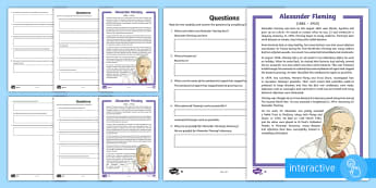 Scottish Scientist Alexander Fleming Differentiated Comprehension Go Respond Activity Sheets-Scottish - CfE, famous Scots, significant individuals, people in past societies, medicine, scientists, penicill