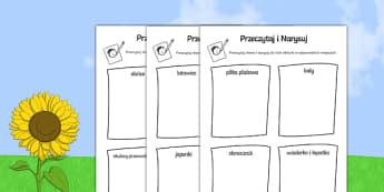 Karta Przeczytaj i narysuj zróżnicowany poziom po polsku, worksheet