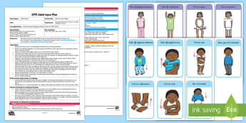 Pants on Your Head! Adult Input Plan and Resource Pack - EYFS Uses Everyday Language Related to Time, shape space measure, SSM, getting changed, getting dres