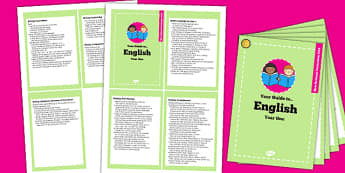 2014 Curriculum Cards Year 1 English - new curriculum, literacy