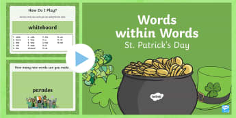 Words within Words Game St. Patrick\'s Day PowerPoint