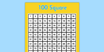 100 Square (Hundred Square) - Number square, hundred square, Counting, Numbers 0-100, 100s gird, 100s chart, 100s board, numeracy,numbers,counting,100 square,numbers to 100
