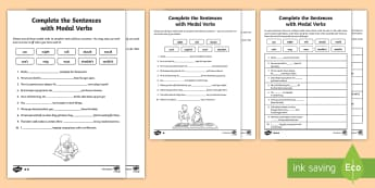 Complete the Sentences with Modal Verbs Differentiated  Activity Pack - English, sentences, verbs, modal,grammar, worksheets.