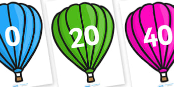 Counting in 20s on Hot Air Balloons (Plain) - Counting, Hot Air Balloon, Numberline, Number line, Counting on, Counting back, even numbers, foundation stage numeracy, counting in 2s