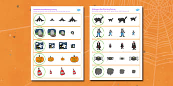 Halloween Size Matching Worksheets - halloween, size, match