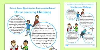 General Sound Discrimination Environmental Sounds Home Learning Challenge Sheet FS1 - EYFS planning, Early years activities, homework activities, phonics, Letters and Sounds, Aspect 1, Phase 1, listening skills.