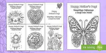 Mother's Day Mindfulness Colouring Cards English/Polish -  adult, adult mindfulness, adult colouring, EAL, polish, translated, translation, mother's day, mot