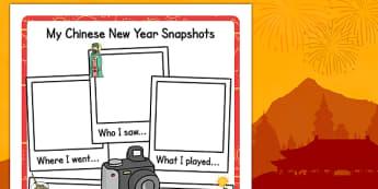 Chinese New Year Snapshot Writing Frame - writing, frame, chinese