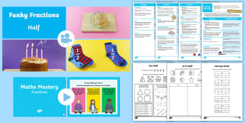 KS1 Fractions: Halves: Video, Activity Sheets and Teaching Ideas Activity Pack - Animations, fractions, half, halves, Recognise find and name a half as one of two equal parts of an
