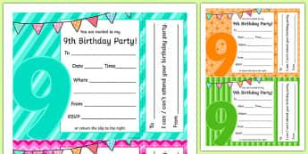9th Birthday Party Invitations - 9th birthday party, 9th birthday, birthday party, invitations
