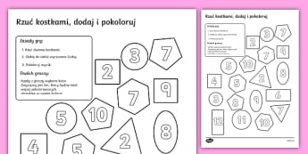 Gra Rzuć kostkami, dodaj, pokoloruj Figury geometryczne - geometria, matematyka, kształty, kształt, figura, figury, figur, geometryczna, geometrycznych, zab