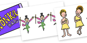 Story Cut Outs to Support Teaching on Charlie and the Chocolate Factory - Charlie and the chocolate factory, charlie and the chocolate factory cut outs, story cut outs