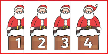Numbers 0-50 on Santa - Christmas, xmas, santa, advent, nativity, father christmas, Jesus, tree, stocking, present, activity, cracker, angel, snowman, advent , bauble, Foundation Numeracy, Number recognition, Number flashcards, 0-30, A4, display, num
