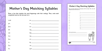 Mother's Day Matching Syllables Activity - australia, Mother's Day, syllables, activities, grammar, word beginnings, word endings, matching, mother