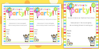 Rainbow Themed Picnic and Party Invitation - rainbow, picnic, party