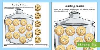 Counting Cookies Activity Sheet - Maths in ECE, cookies, jar, maths, counting, numeral recognition, number recognition, numbers to 10