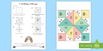 8 Malfolge Wahrsager Spiel - 8 Times Table Fortune Teller - 8 times table, times table, fortune teller, activity, craft, fold, ti
