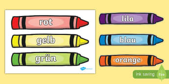 Colour words on crayons German - german, colour, mixing, words, crayons