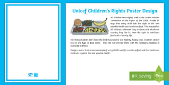 KS2 Design a Poster Activity - EY/KS1 Unicef, united nations, rights of the child, children, article 24, food, health,