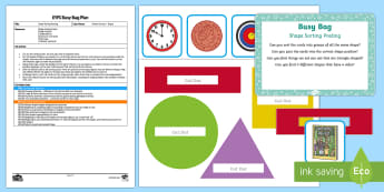 EYFS Shape Sorting Posting Busy Bag Plan and Resource Pack - EYFS, Sorting, mathematics, shape space measure, beginning to categorise objects according to proper