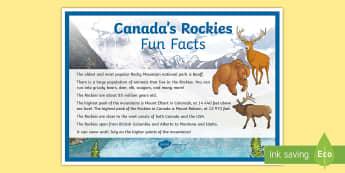 Canada's Rockies Fun Facts Display Poster - rockies, rocky mountains, mountains, Canada, geography, banff