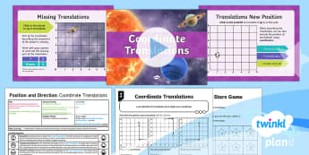 PlanIt Y4 Position and Direction Lesson Pack Translations (2) - Y4 Position and Direction, coordinates, translations, Describe movements between positions as transl