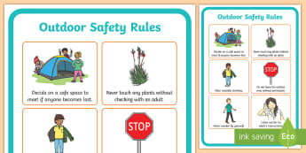 Outdoor Learning Safety Rules A4 Display Poster - field, outside, walk, nature, forest, woodland, playground, behaviour