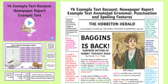 Y6 Recounts: Newspaper Report Example Text - Example Texts Y6, WAGOLL, journalist, journalism, newspaper writing, newspaper report, article, genr