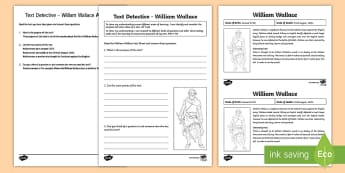 William Wallace Text Detective Activity Sheet - CfE Scottish Significant Individuals, William Wallace, text detective, main point, first level langu