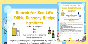 Search for Sea Life Edible Sensory Recipe - search, sea life, edible, sensory recipe, recipe
