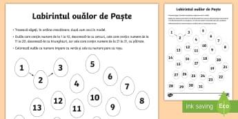 Labirint matematic de Paște Fișă de lucru - Romania Easter, Paști, Paște, Paste, sărbătoare, ouă, matematică, numere, par, impar, pare, im