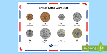 New British (UK) Coins Word Mat - money, coin mat, maths,