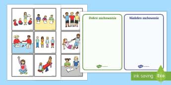 Karty do sortowania i dyskusji Zachowanie w klasie - zachowanie, wychowanie, dobre, złe, grzeczny, niegrzeczny, wychowawcza, wychowawcze, zachowań, źl